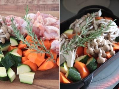 野菜と肉(または魚)を切って、フタして魚焼きグリルに入れるだけ!undefinedグリルに入れる前にベイクパンを熱して食材を入れると調理時間がすこし節約できます