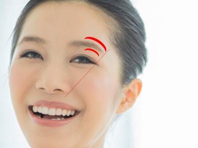 眉尻の目安は小鼻のわきと目尻を結んだ延長線上