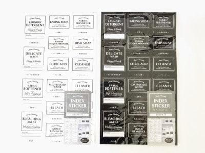 キャンドゥのインデックスステッカー・詰め替え容器用は白と黒の2色