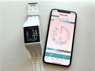 心拍計測機能付きスマートウォッチ「ポラール」。日々の活動量管理の他、スマホと連動してメールチェックなどもできる。