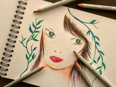 鮮やかな色が特徴のカラト水彩色鉛筆。水で濡らせば水彩画タッチになる。
