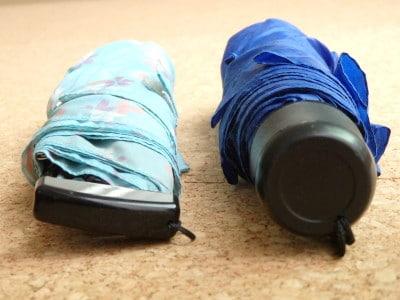 ポケフラットと一般の折りたたみ傘の画像比較
