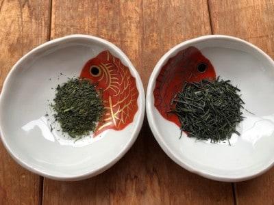 左が100グラム1,000円のお茶、右がまれもの