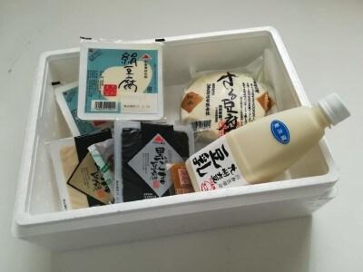 川島豆腐店のオンラインショップで人気の「ざる豆腐豆乳詰合せ」クール便で届きます