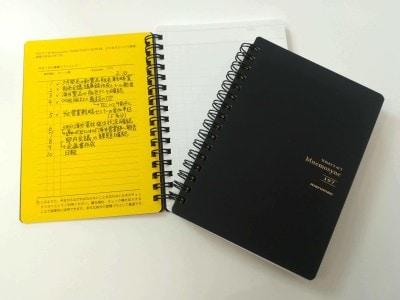 マルマン「Mnemosyne(ニーモシネ)」のシリーズは、黒い表紙の次に黄色い中表紙になっています。白い用紙には切り取りミシン目も付いています