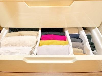 衣類と細かい靴下も分類して収納できる