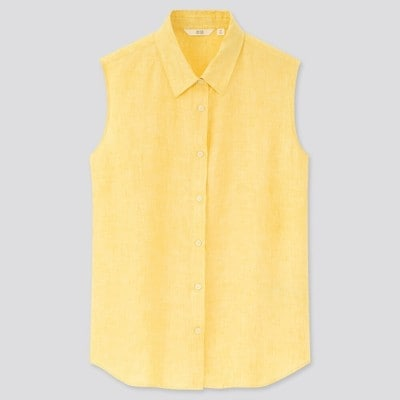 ユニクロ「リネンブレンドオープンカラーシャツ(ノースリーブ)」