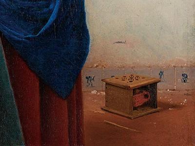一番左側のタイルにキューピッドが描かれているフェルメールの《牛乳を注ぐ女》