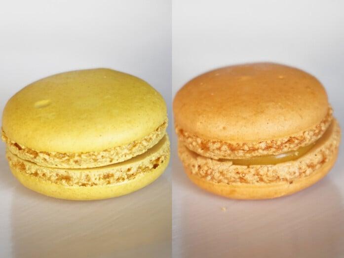 シャトレーゼ「マカロン」。左はレモン、右はマンゴー