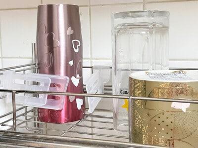 冷蔵庫ポケット仕切りで水筒を乾燥させる