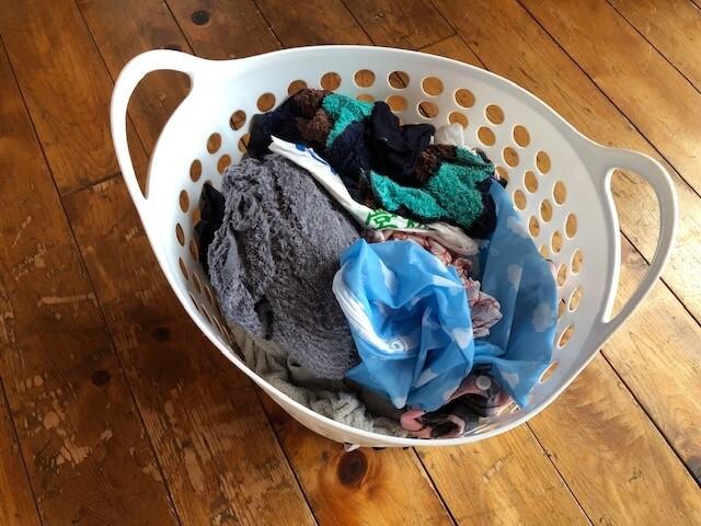 脱水が終わった洗濯物